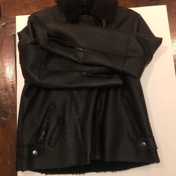 black leather inside fur jacket